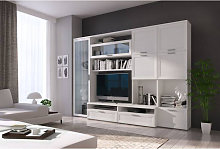 Pared de salón con mueble para TV y muebles altos