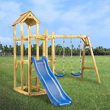 Parque infantil tobogan, columpios y escalera