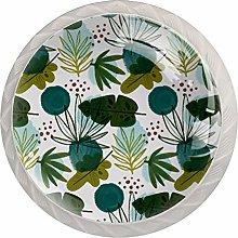 Patrón de hojas de planta, perilla de cristal,