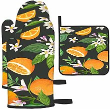 Patrón Naranja con Frutas Tropicales, Hojas,