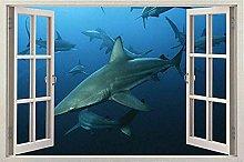 Pegatinas pared - Fish Big Fish Window 3D Instant