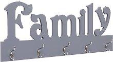 Perchero de pared FAMILY gris 74x29,5 cm - Gris