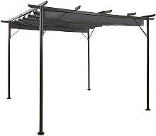 Pérgola con tejado retráctil acero gris