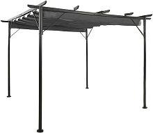 Pergola con tejado retractil acero gris antracita