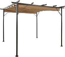 Pérgola con tejado retráctil acero gris taupe