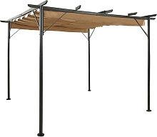 Pergola con tejado retractil acero gris taupe 3x3