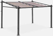 Pergola de pared, Aluminio, Marron, 3x4m, Murum -