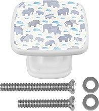 Perilla de cajón de 4 piezas Elefante Blanco