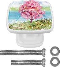 Perilla de cajón de 4 piezas Primavera árbol