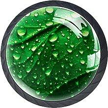 Perilla De Muebles Gotas De Agua De Hoja Verde