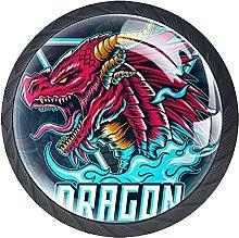 Perilla del cajón Dragón Rojo Tirador para