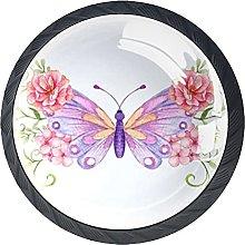 Perilla del cajón Flores y Mariposas Tirador para