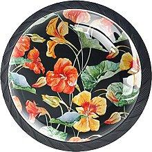 Perillas De Cajón Negras Patrón De Flor Naranja