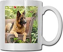 Perro pastor alemán en un banco de parque taza de