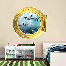 Pez submarino ojo de buey etiqueta de la pared