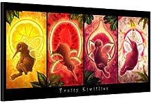 Picanova Kiwi Fruitflies 100 x 50 cm – Lienzo de