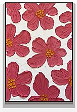 Pintura Pintada A Mano 100%,Textura Roja Flor De