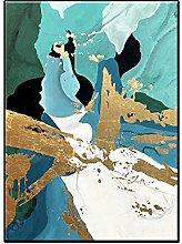 Pintura Pintada A Mano 100%,Verde Azulado Textura