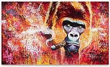 Pintura sobre lienzo Divertido gorila fumador