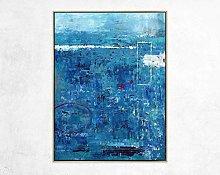 Pinturas Oleo Abstracto Azul, Grande, Acrílico,