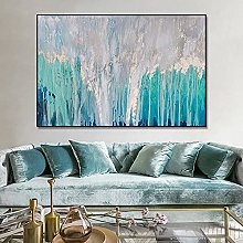 Pinturas Oleo,Creativa Textura Verde Azulado Que