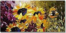 Pinturas Oleo,Textura Amarilla Flor De Girasol