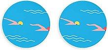 Piscina de verano, nadadores profesionales, imanes