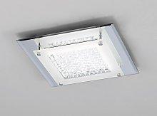 Plafón cuadrado cromo espejo pequeño CRYSTAL LED
