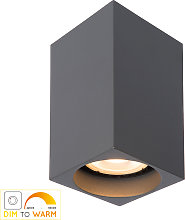 Plafón LED Delto dim to warm, angular, gris