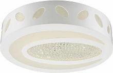 Plafón LED Foco de techo en cristal blanco claro