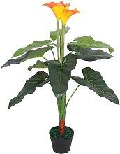 Planta cala lilly artificial con maceta 85 cm roja