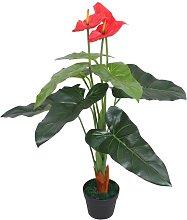 Planta de anturio artificial con maceta 90 cm roja