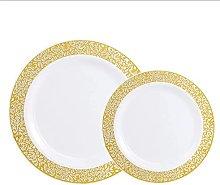 Plato de cocina occidental de oro rosa y plata