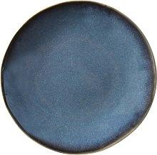 Plato de postre de loza azul