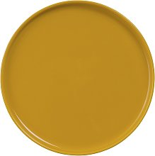 Plato llano de loza amarillo mostaza