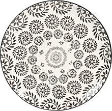 Plato llano de loza blanco/negro