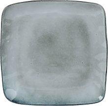 Plato llano de loza gris
