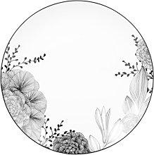 Plato llano de porcelana blanca y negra con motivos