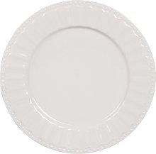 Plato llano de porcelana blanca