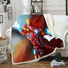 POMJK Iron-Man Manta de forro polar con impresión