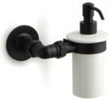 Porta dispensador jabon cerámica de pared negro