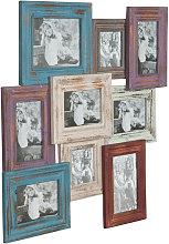 Portafoto múltiple de colgar de madera multicolor