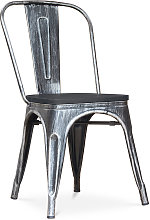 Privatefloor - Silla estilo Tolix - Metal y Madera
