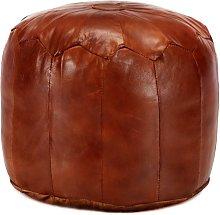 Puf 40x35 cm cuero genuino de cabra color tostado
