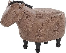Puf animal tapizado marrón HORSE