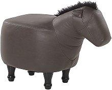 Puf animal tapizado marrón oscuro HORSE