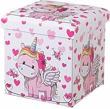 Puf Arcón Plegable Unicornio Pink Polipiel