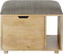 Puf baúl con 1 cajón y cojín de algodón gris