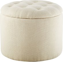 Puf baúl tapizado en color crema