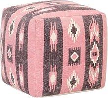 Puf de diseño estampado de algodón rosa 45x45x45
